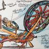 Spinning Wheel Study, pg 3, Hand Painted Carved Table